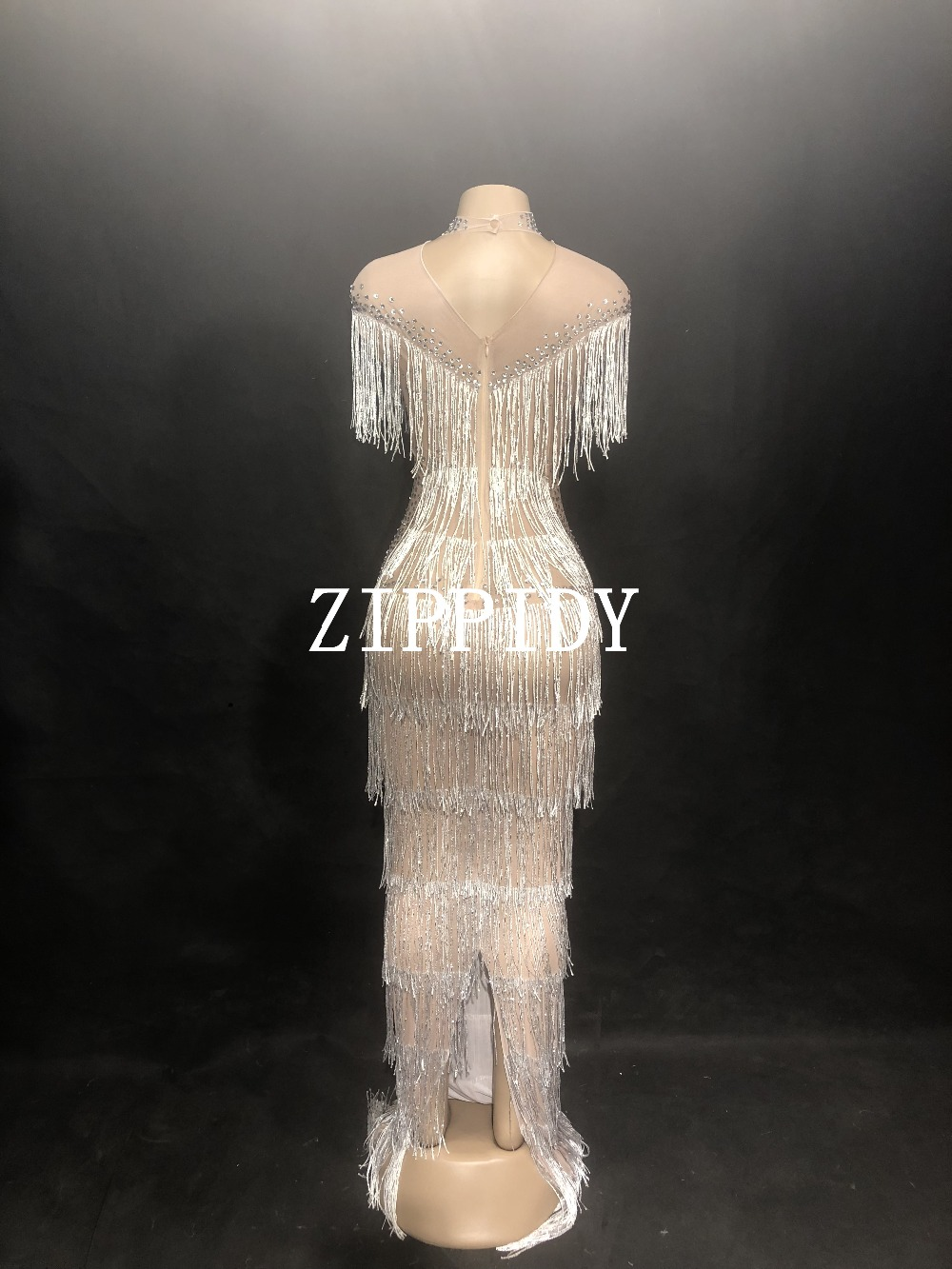 Luxurious Stones Mesh See Through Dress Women Fashion Birthday Dress Stage Female Singer Show Birthday Evening Party Dress in Dresses from Women 39 s Clothing