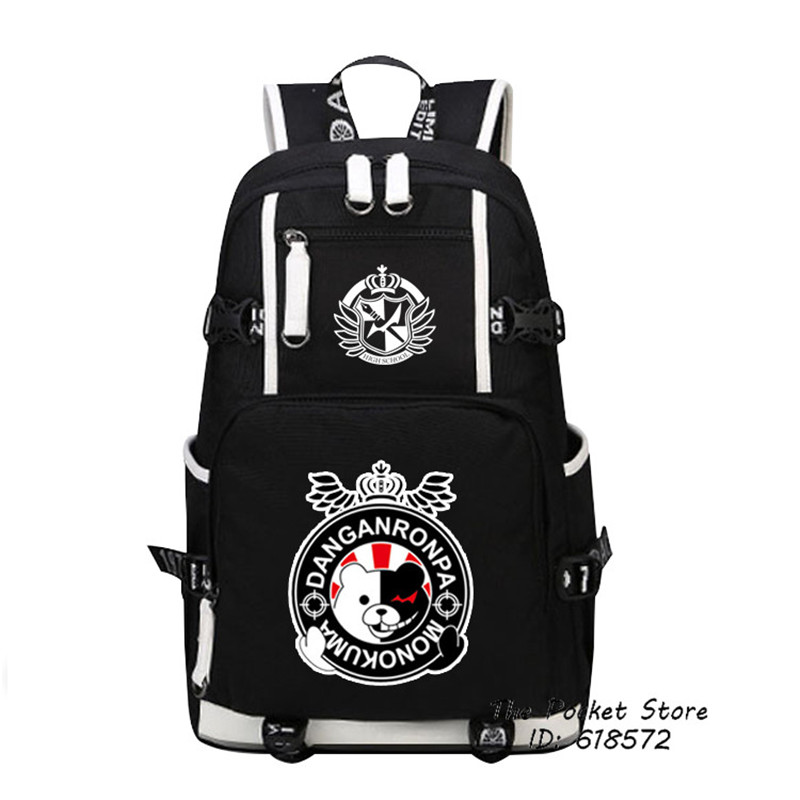 Hot Game Danganronpa Monokuma Women Backpack Cartoon Bagpack Anime School Bags Canvas Travel Bags Laptop Backpack Large Bookbag