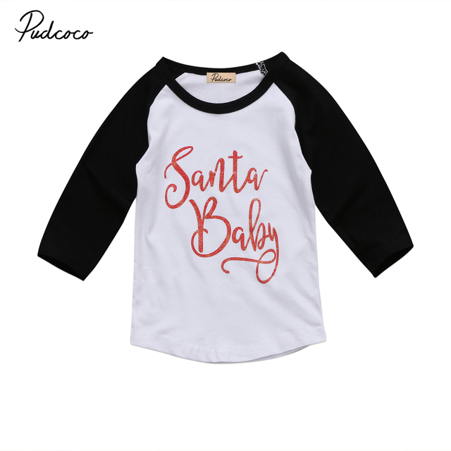bc6db144a5c Baby Boy Girl Kids Christmas Cotton T-shirt Tops Child Long Sleeve Tee  Blouse Xmas Clothing 1-4T