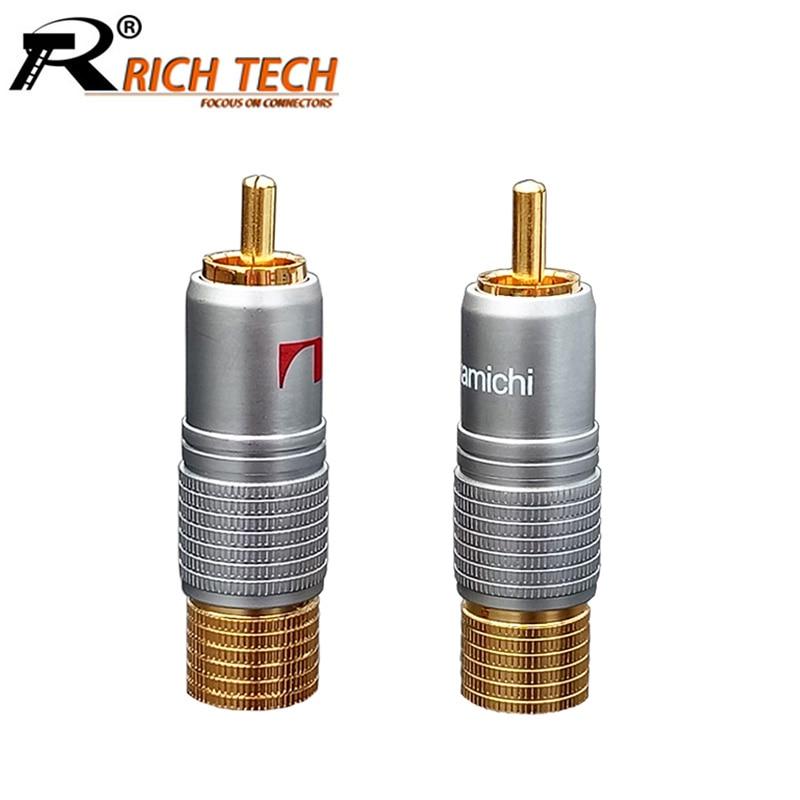 100pcs  Lot Rca Connector Screw Solder Free Rca Male Plug