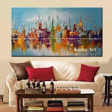Pop art Handpainted abstract Knife Scenery Oil Painting Wall Decor Landscape picture home Decoration oil Canvas