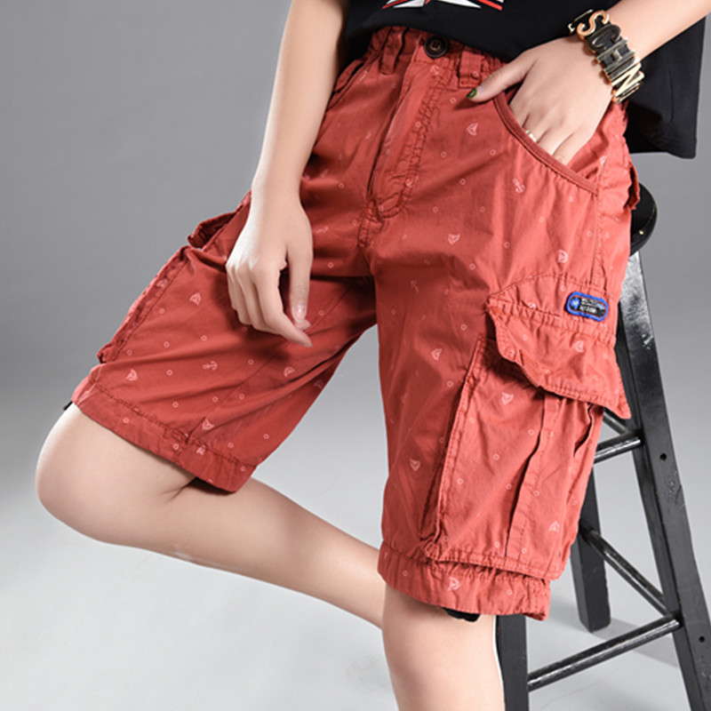 2018 New Plus Size Cargo Shorts Women Big Pockets Womens Shorts Summer Orange Solid Midi Knee Shorts Natural Waist Female Short ...