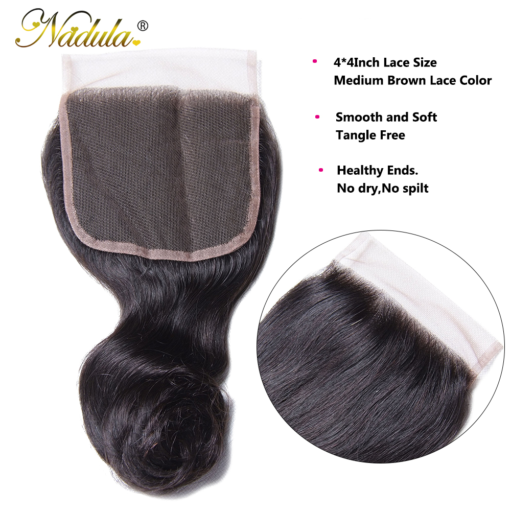 Nadula Hair  Loose Wave Bundles With Closure  Bundles With Closure 4*4 Swiss Lace Closure With Bundles 4