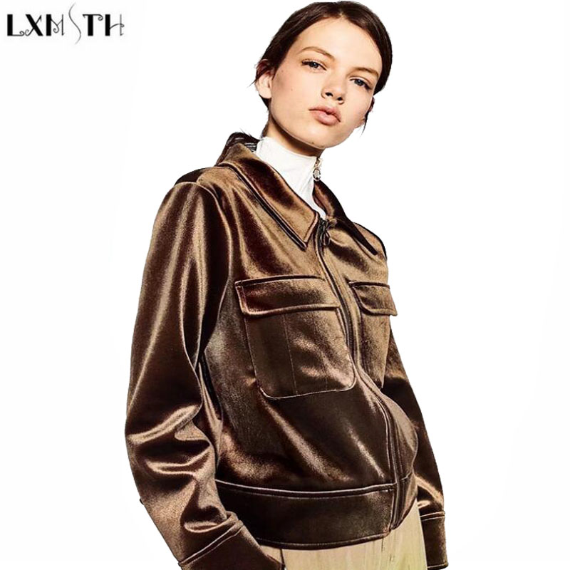 LXMSTH 2017 Autumn Baseball jacket Women Long Sleeve Turn-down Collar Short Velvet Coat Preppy Style Casual jackets for Ladies