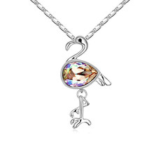 Wholesale Fashion Bird Pendant Chain Necklace Made with Swarovski Element Women Elegant Party Jewelry Cute Collares Bijouterie(China)