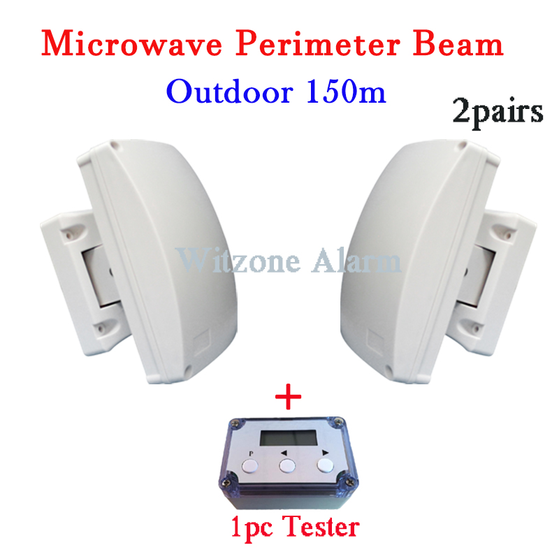 2pairs Dual Beam Detector Wired Outdoor Anti theft Microwave Barrier Curtain beam Detection Alarm System with 1pc LCD Tester system system alarmsystem testers - title=