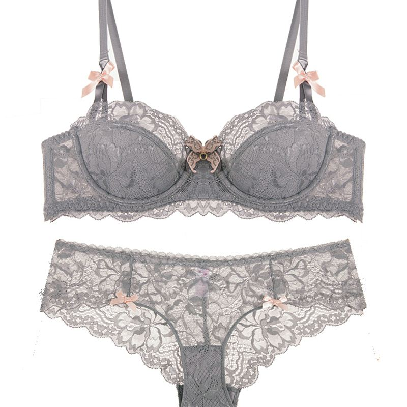 Girl sexy lace push up underwear   bra     set   large size transparent ultra-thin section of half cup cup gray   bra     set