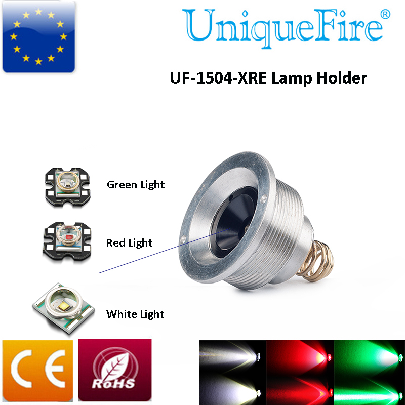 UniqueFire UF-1504 Flashlight Lamp Holder Cree XRE(G/R/W) Led Drop in Pill 3mode Driver Operated fitted with UF-1504 Flashlight