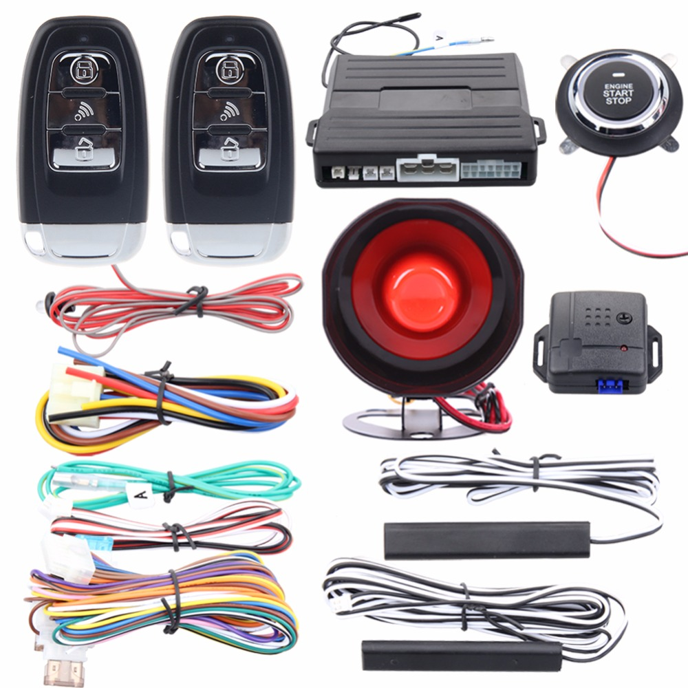 Easyguard PKE car alarm system remote lock unlock remote engine start push button start stop remote trunk release shock alarm universal pke car keyless entry alarm system with remote engine start push start stop button trunk release