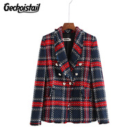 Geckoistail Women Fashionable Blazers Coat 2018 Autumn Plaid Notched Double Breasted Female street Suits Blazer Outerwear