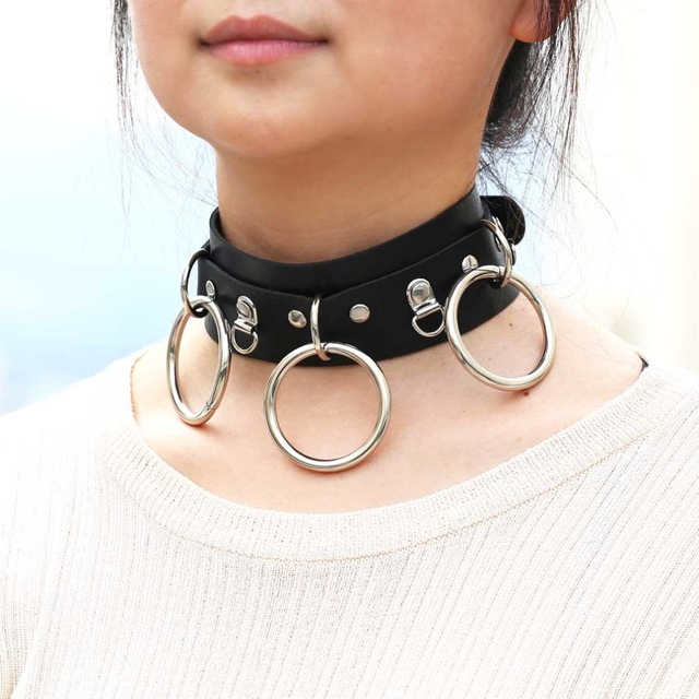 Woman Man Goth Sexy PU Leather 3 Ring Bondage Slave Collar Neck Fetish BDSM  O Ring Choker