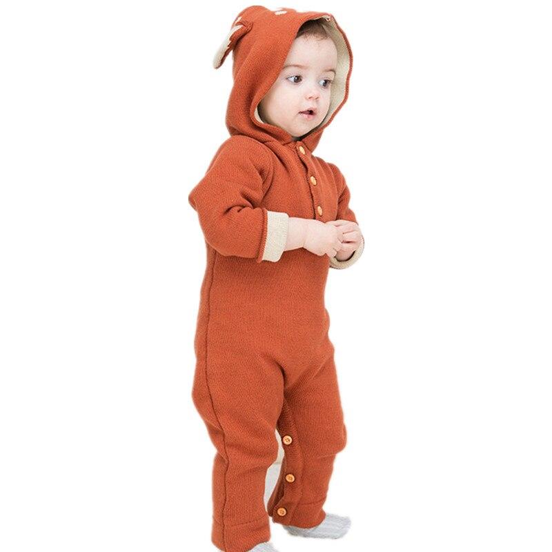 2017 Winter autumn baby girls boys cartoon panda wool rompers infant hooded jumpers children climbing sweater stuff goods 17S907