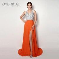 Gsbridal العميق الخامس الرقبة الديكور الأعلى التنورة الشق الأمامي prom مساء ثوب