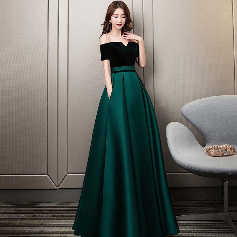 2019 New FashionEvening   Dresses   Boat Neck Lace Up Prom Formal   Dress   Elegant Green Backless Pockets Long A-line Party Gowns E349
