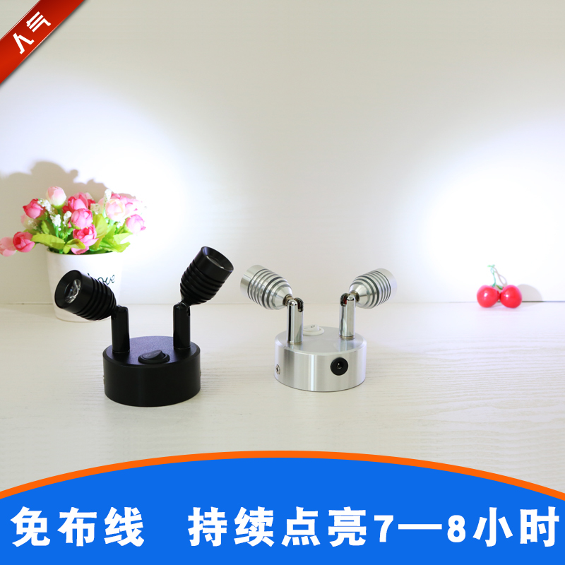 1pc Wine Cabinet Downlights Led Small-sized Both Head Attract Top Can Move Bar Counter Mini- Wireless Rechargeable Battery Lamp