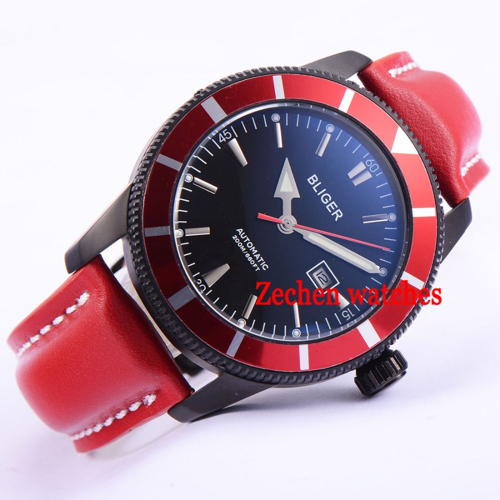 BLIGER 46mm mens watch miyota movement Stainless steel black case red leather luminous automatic mens watch relojes full stainless steel men s sprot watch black and white face vx42 movement