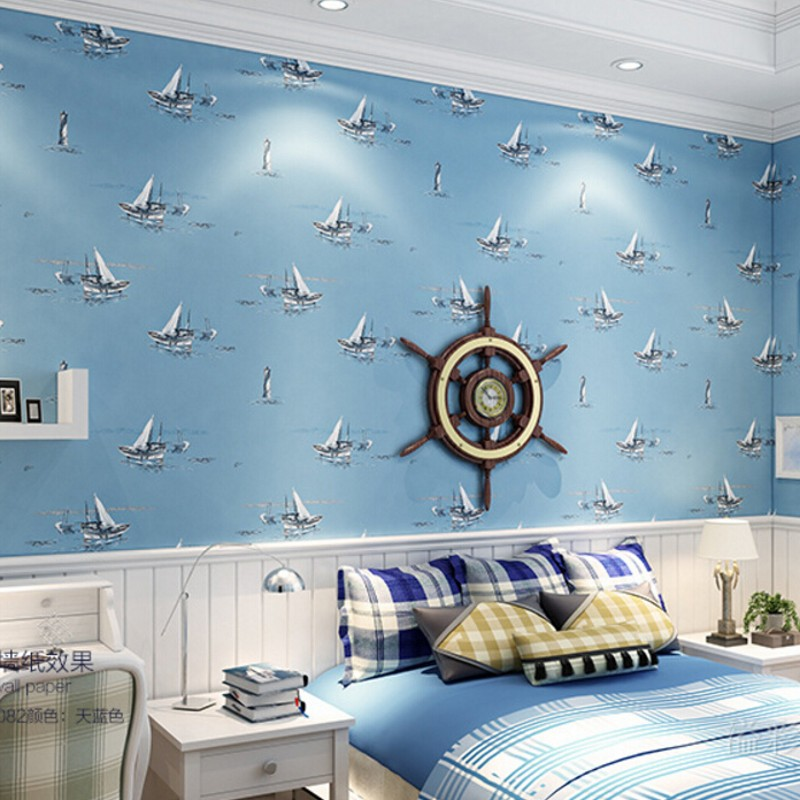 ФОТО Beibehang Mediterranean style wallpaper cartoon boy girl children bedroom bedroom canvas room wall covered wall paper roll