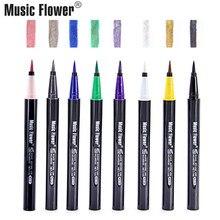 Music Flower Waterproof Pencil For Eye Liner Pen Liquid Eyeshadow Shimmer Eyeliner Green Pink White Pearly-lustre Shadow Lasting