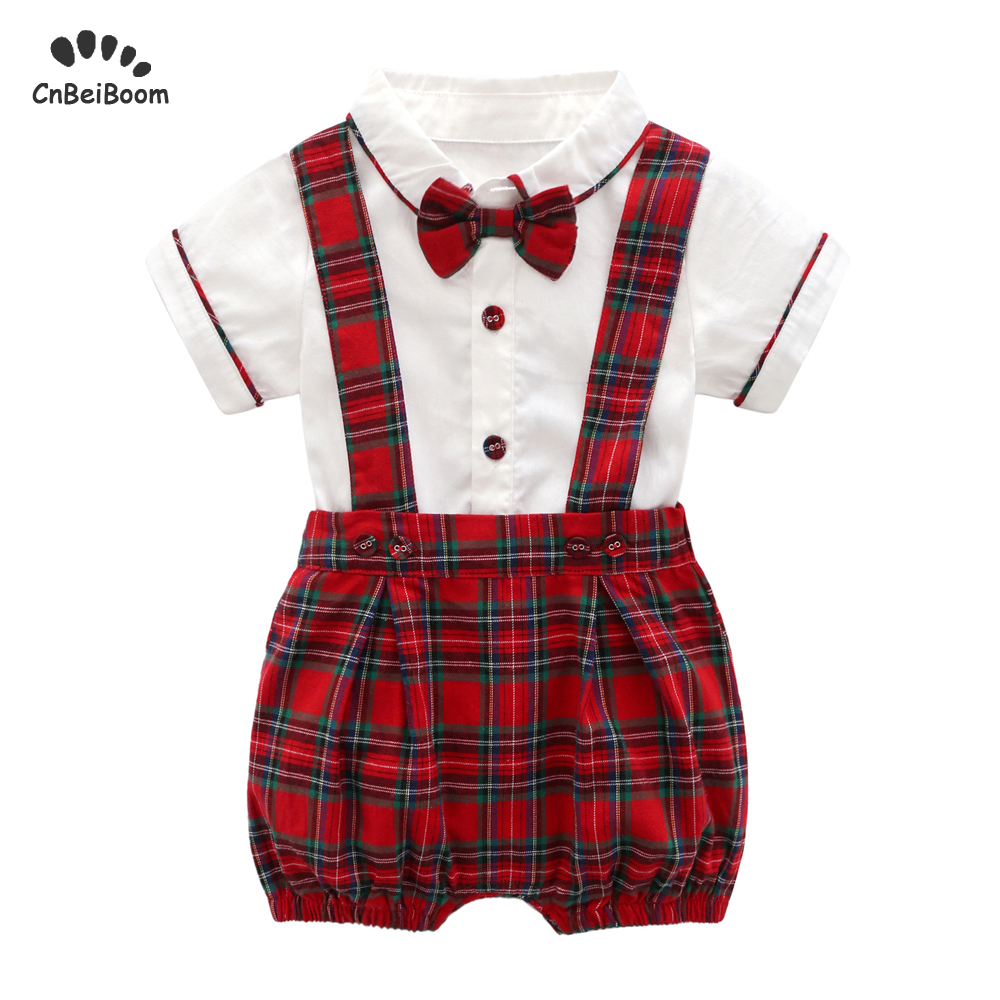 Baby boys Girls Clothes Set tie bow Toddler cotton romper Overalls Shorts red Lattice Summer Kids Clothing Set Infant Outfits