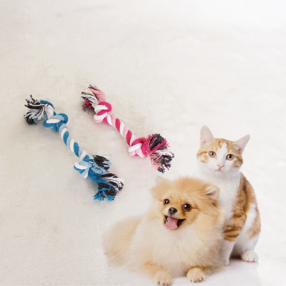New Hot sales Pets dogs pet supplies Pet Dog Puppy Cotton Chew Knot Toy Durable Braided Bone Rope 17CM Funny Tool free shipping