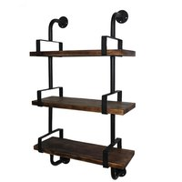 Retro Industrial Wall Decor Shelf DIY Pipe Design Bookcase Metal Brackets & Wood Plank Kitchen Storage Rack Living Room Display