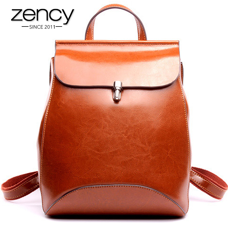 Vintage Lock Famous Brand Genuine Leather Women Backpacks Kn