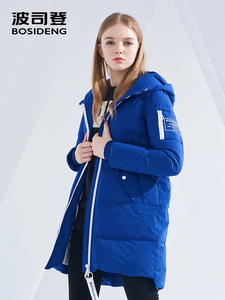 BOSIDENG women's mid-long   down   jacket 2018 new style solid color waterproof parka winter high quality   down     coat   B80142578DS
