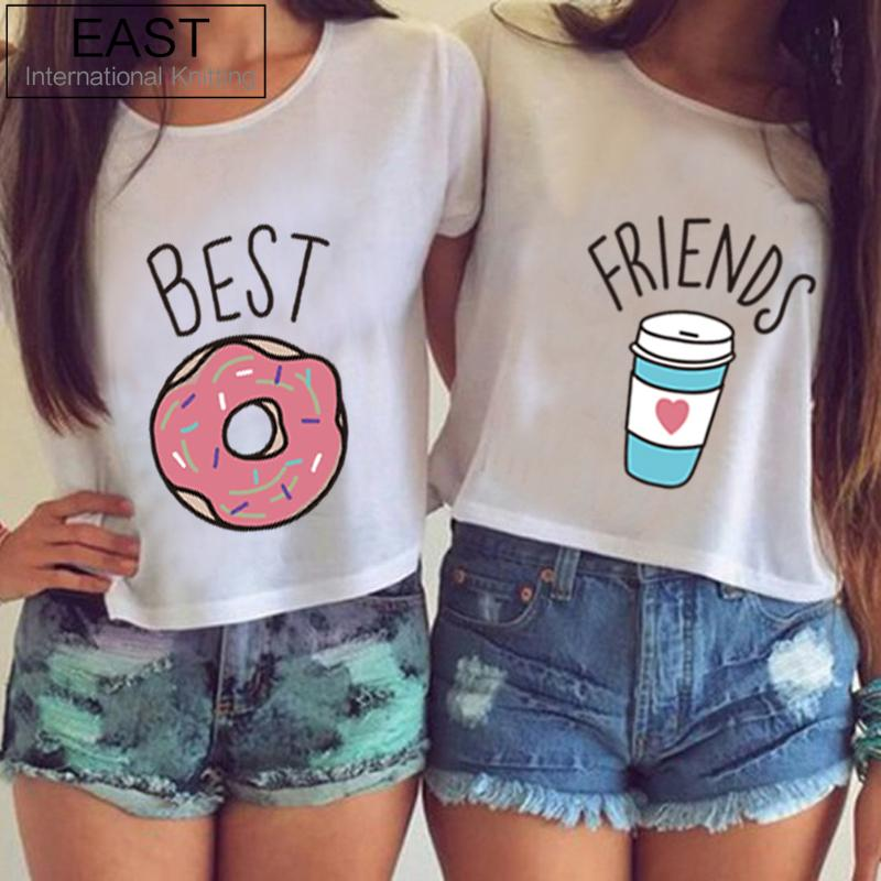 Este punto H599 2016 Hot Summer Women T-shirt Funny Best Friends camiseta Donut y café dúo camisetas de impresión fluida pareja Tops