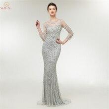 Silver Gray Evening Dress 2019 Long Illusion Luxury Cap Sleeves Three Quarter Mermaid Sweep Train Prom Dresses Elegant For Girls
