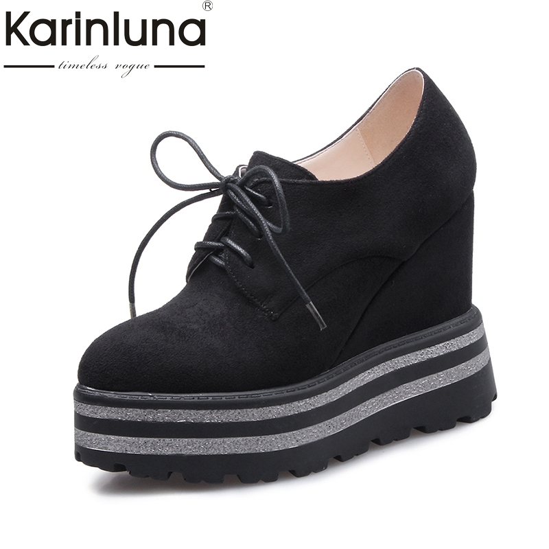 Karinluna 2018 Fashion Round Toe Lace Up Platform Women Pumps Wedge High Heels Shoes Woman Red Black Shoes nayiduyun women casual shoes low top platform wedge high heels boots round toe slip on pumps punk chic shoes black white sneaker