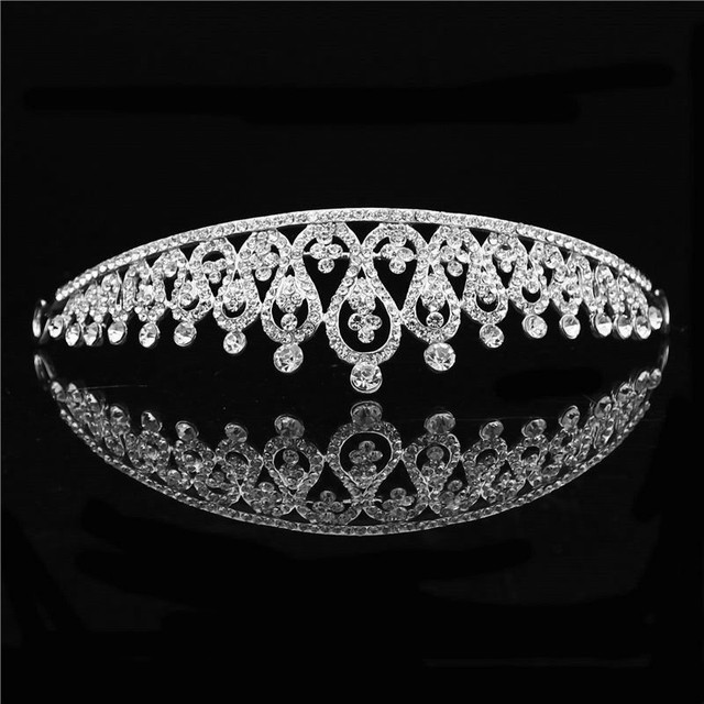 Princess Tiara Crown headband Bride wedding Accessories tiaras and crowns for women Headdress Silver Wedding Hair jewelry