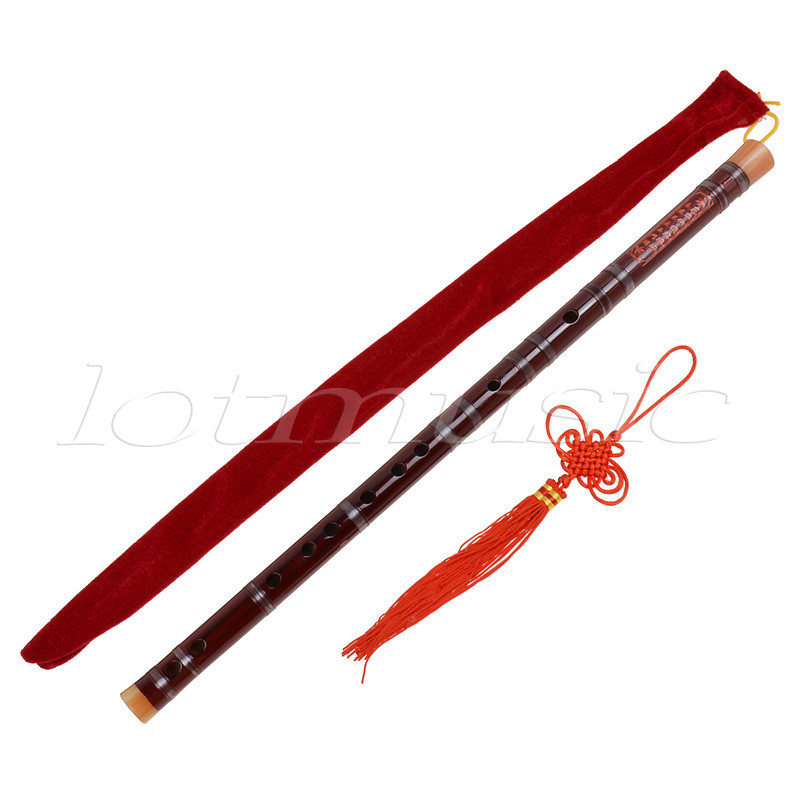 Kmise 5 set Red Traditional Chinese Bamboo Flute Dizi F Key Musical Instrument
