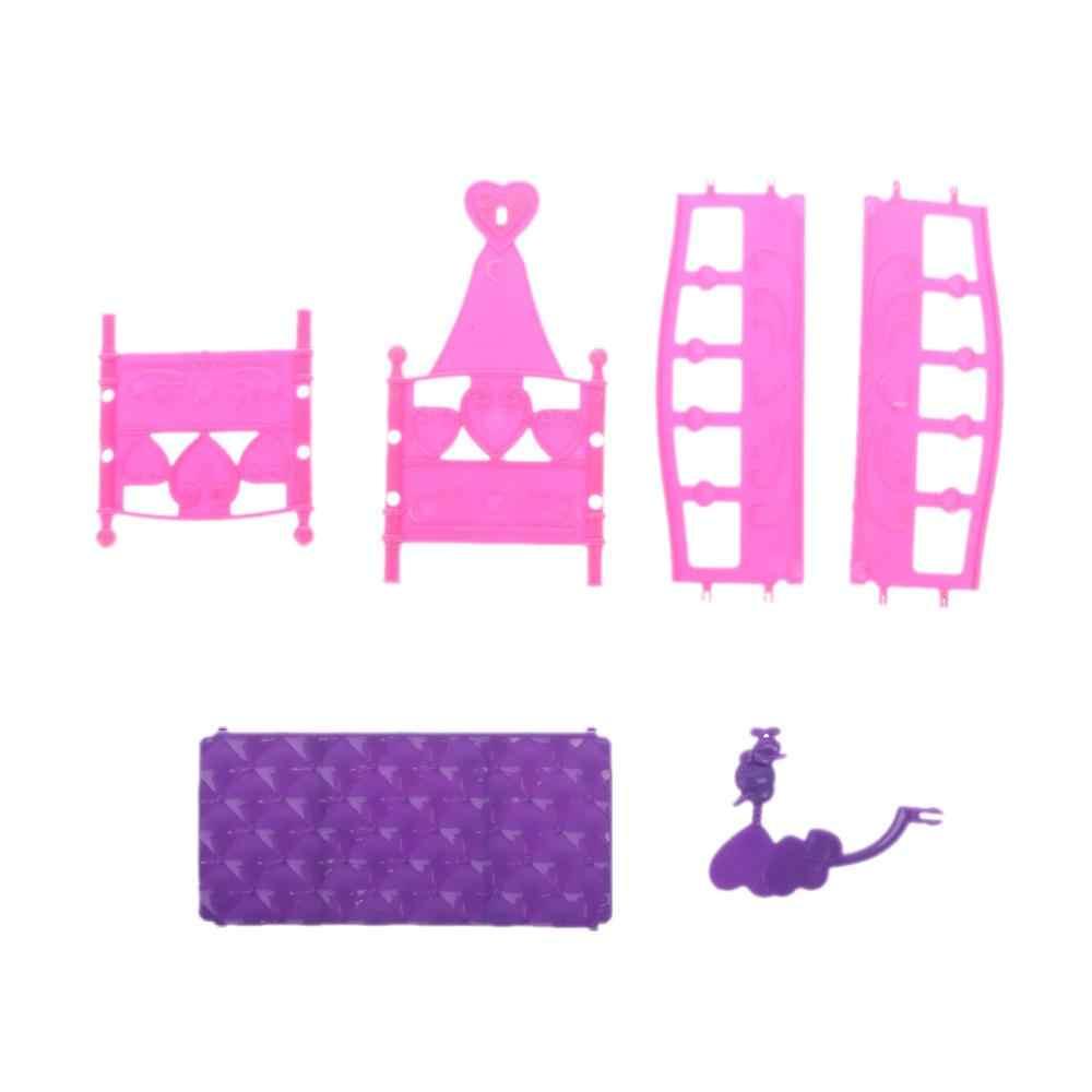 Berço de balanço cama boneca casa brinquedo móveis para kelly barbie boneca acessórios meninas brinquedo presente