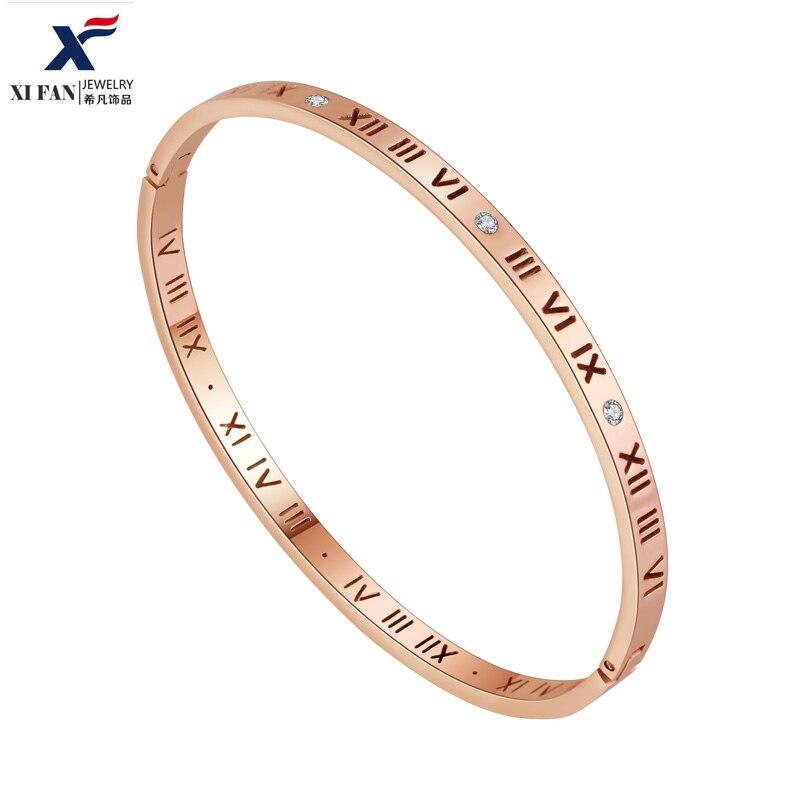 Xifan выдолбленные римская цифровой один AAA циркон браслет покрытие из розового золота Для мужчин и Для женщин кольцо Интимные аксессуары