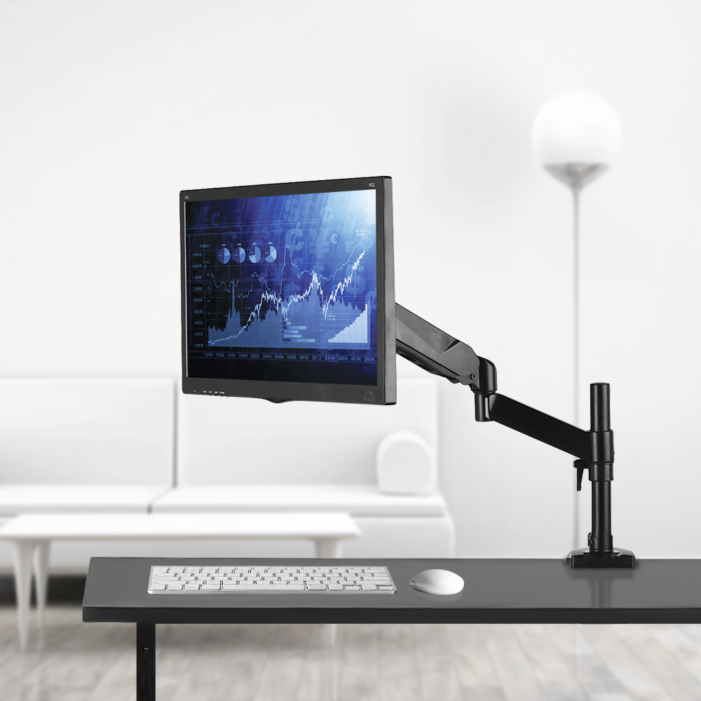 Adjustable Single LCD Monitor Arm Desk Mount Stand Full Motion Swivel Aluminum Alloy for 15-27 Computer Display Max 7kg Loaded full motion lcd monitor holder computer display mount bracket fit for w o vesa display aoe apple samsung all in one computer