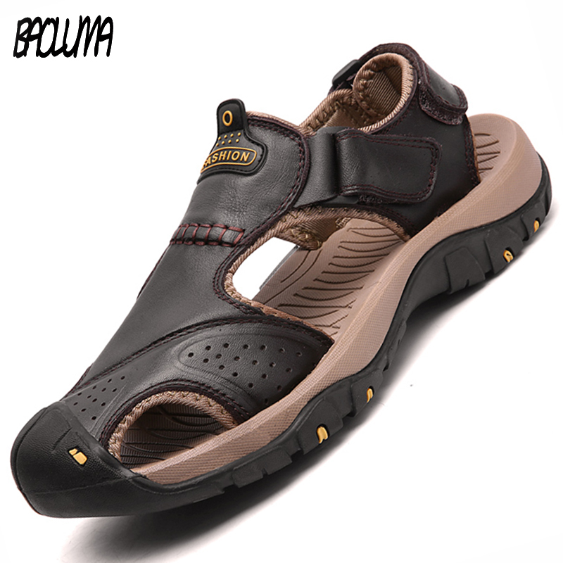 Men Sandals Genuine Split Leather Men Beach Roman Sandals Brand Men Casual Shoes Flip Flops Men Slippers Sneakers Summer Shoes(China)