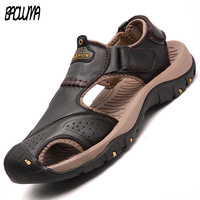 Men Sandals Genuine Split Leather Men Beach Roman Sandals Brand Men Casual Shoes Flip Flops Men
