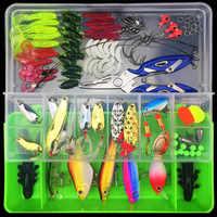101 pçs caixa de pesca equipamento isca kit conjunto girador isca minnow popper vib macio duro colher manivela iscas ganchos pesca acessórios