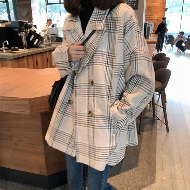 Women Autumn Winter Plaid Trench Coat Long Clothes Overcoat with Cotton Inside Plus Size Manteau Femme