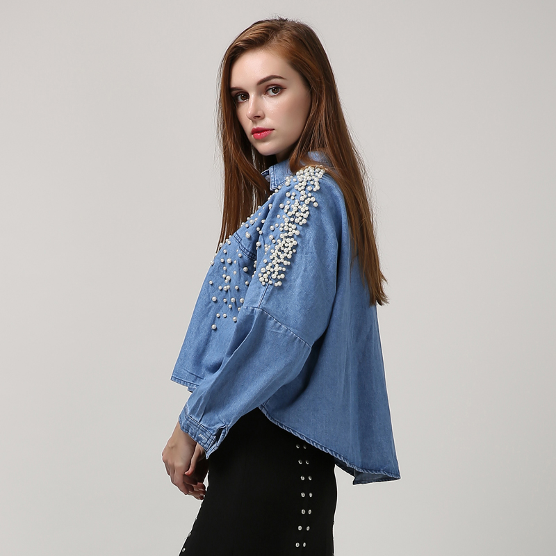 b92e0095a818 CHICEVER Denim Crop Top Female Pearl Batwing Long Sleeve Women's Shirt  Jeans Short Tops Clothes Korean Big Sizes Autumn 2017 New-in T-Shirts from  Women's ...