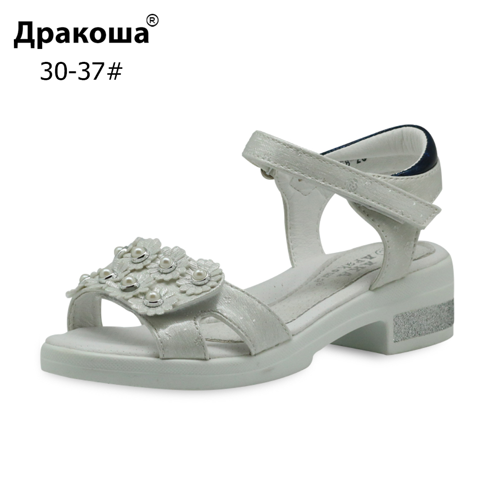 Apakowa Eur 30-37 Fashion Big Girls Sandals Summer PU Leather Orthopedic Children's Shoes with Flower Pearl for Beach Party New