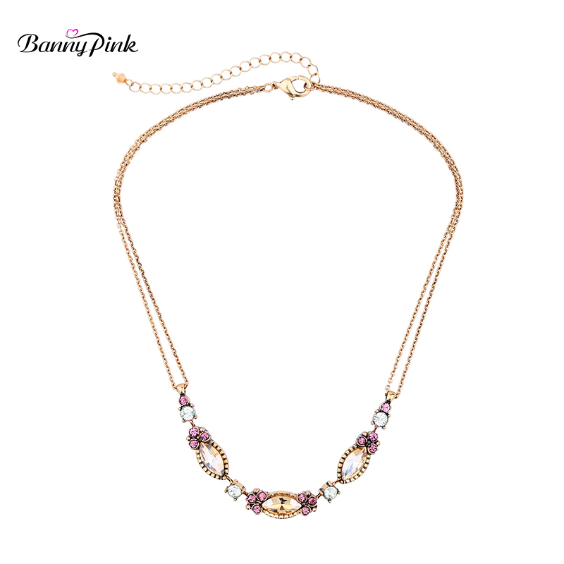 Banny Pink Vintage Metal Chain Choker Necklace For Women Elegant Geo Crystal Statement Choker Collar Fashion Jewelry Colliers