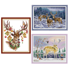 цена на Joy Sunday,cross deer,cross stitch embroidery set,printing cloth embroidery kit,needlework,animal pattern embroidery kit