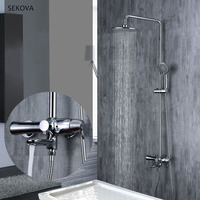 3 Function Shower Faucet Shower System Bathroom Waterfall Shower Head Cold & Hot Water Chrome Shower Faucet Mixer Tap Set