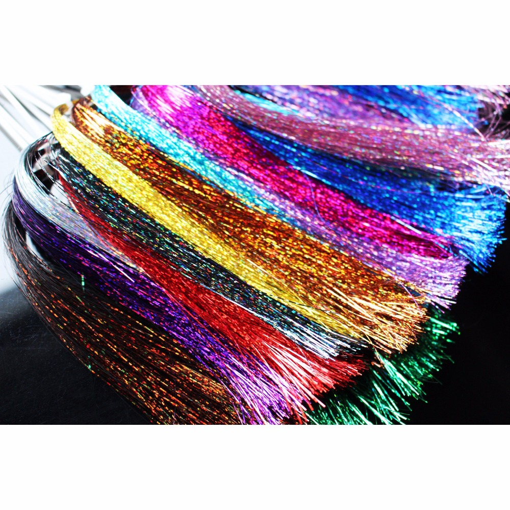 Tigofly 13 Colors 0.3mm Flashabou Holografisk Tinsel Flat Glittering Mylar Sparkle Crystal Flash Foring Tube Fly Tying Materials