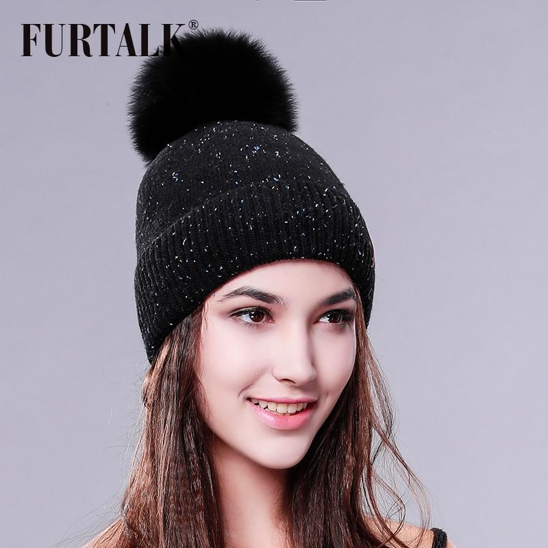 FURTALK Wool Hat Fox Fur Pom Pom Hat Women Winter Fur Hat f7a1d892b482