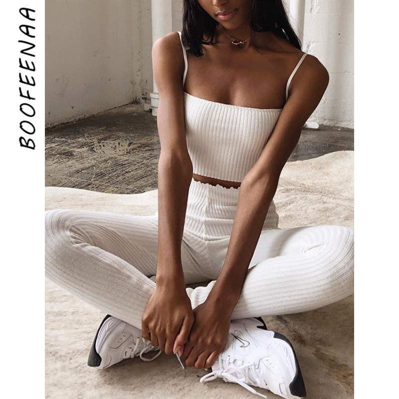 BOOFEENAA Sexy Elastic High Waist Pencil Pants Women Ribbed Knitted Casual Trousers White Black Bottoms Fall Winter 2019 C76AA34