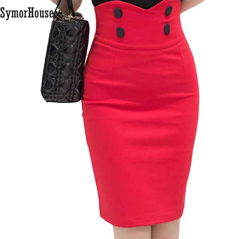 a0773d6752 2019 High Waist Elastic Women Skirts Sexy Slim Solid Color Black Red Double  Button high waist