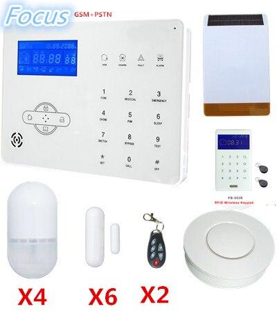 2018 popolare di vendita Messa A Fuoco protezione di Sicurezza Domestica Sistema di Allarme Senza Fili di GSM Sistema di Allarme con Solar-power Strobe Falsh Siren