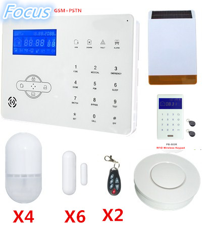 Free Shipping PSTN GSM Alarm System Home Safety protection Alarm System Smart Home Alarm System With